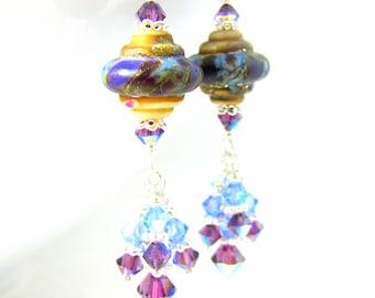 Purple Blue Ivory Glass Earrings, Crystal Dangle Earrings, Baroque Earrings, Colorful Jewelry, Lampwork Earrings, Jewel Tone Glass Earrings