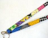Mary Engelbreit Fabric Lanyard ID Badge Holder Breakaway Lanyard Key Ring Fob Colorful Crazy Quilt MTO
