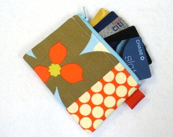 Fabric Business Card Case Coin Purse Amy Butler Fabric Zippered Credit Card Case Womens Card Holder Wallet Morning Glory Red Blue Gray MTO