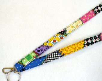 Mary Engelbreit Fabric Lanyard ID Badge Holder Breakaway Lanyard Key Ring Fob Colorful Crazy Quilt MTO