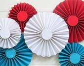 ROSETTES (6) Red-Turquoise-White  //  Circus-Carnival-Dr Seuss  //  Birthday Photo Prop  // Paper Fans-Medallions-Pinwheels...Ready-to-Ship
