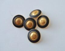 """Gold & Black Shank Crest buttons - 11/16"""" x 5"""