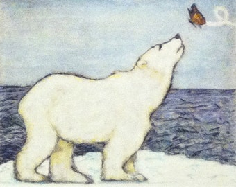 Sea Bear and Monarch Butterfly - Blank Card of Original Polar Bear Hand Pulled Drypoint Print with Watercolor