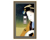 0133X -Asian Woman Under Umbrella - mrs butler switch plate covers -