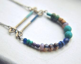 Curve Bar Necklace Long Boho Bohemian Folk Multi-Colored Beaded ~ Doli