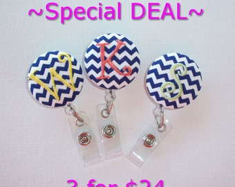 Retractable ID Badge Holder Reel  - Fabric Button -  Chevron with monogram one initial custom - your choice 3 for 24