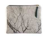 Tree Branch, Linen Cosmetics Case, Zip Clutch, Makeup Bag, Plaid Flannel, Everyday Bag, Evening Purse