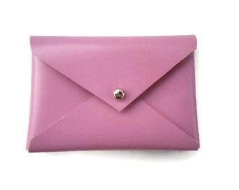 Card case, Pink leather, coin purse, leather envelope, earbud holder, leather wallet, Gift under 20 dollars