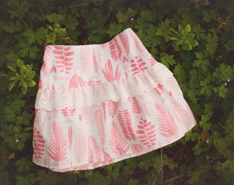 Girl's Skirt - Fern Print in Red and White with Eyelet Lace Trim -   Skirt for Baby, Toddler and Youth Child - Quality Handmade Clothing