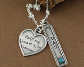Half My Heart is in Heaven, Remembrance Necklace, Bereavement Jewelry, In Memory Of Dad, Memorial Necklace