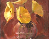 Yellow Flowers Original Oil Painting, 6x6 inches on Panel