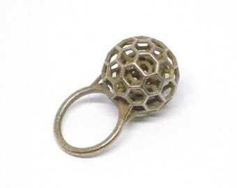 Tensegrity Ring (3D Printed Steel, Bronze or Gold)