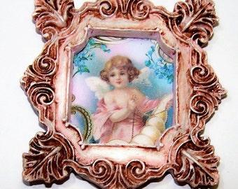 Dollhouse Decor, Wall Hanging, Victorian, Home Decor, Mini Picture, Digital Artwork, Fashion, Miniature, Wall Art, Dollhouse, Angelic, Tan