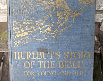 Vintage religious book, Hurlbut's Story of The Bible, illustrated, child's perspective, 1940's era religion, bookmark, pretty bible book