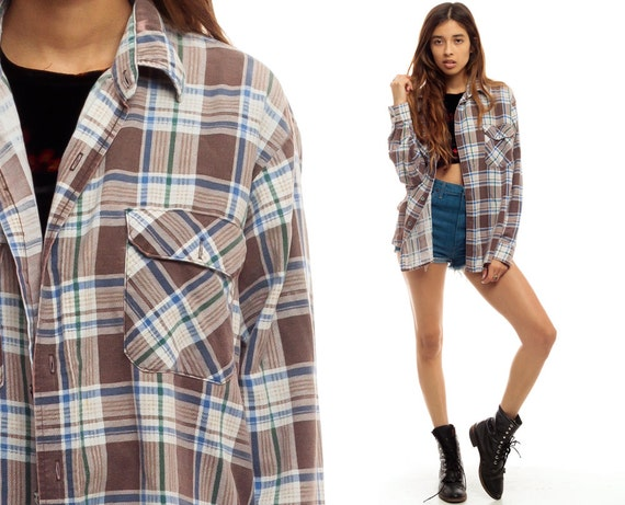 Brown flannel shirt plaid button up 90s grunge long sleeve for White shirt brown buttons