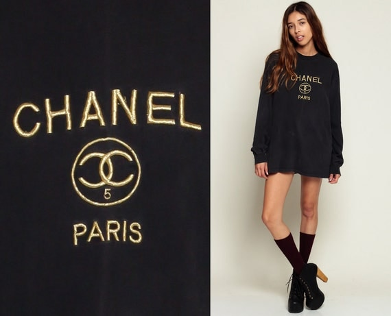 Coco chanel t shirt 80s tshirt designer shirt paris gold long for Authentic chanel logo t shirt