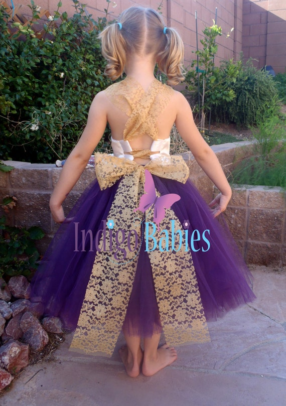 Items similar to flower girl dress weddings tutu dress for Cream and purple wedding dresses