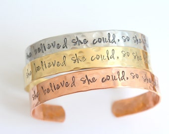 She Believed She Could So She Did Bracelet - She Believed She Could So She Did Bangle Bracelet - Silver Gold Brass Bronze Copper