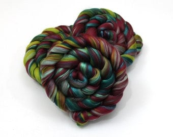 Merino Wool / Silk Roving (combed top) - Custom Blended Commercially Dyed Roving for Spinning or Felting - 4 oz