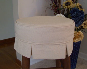 Box Pleat Round Bar stool Slipcover, Canvas Barstool Cover With Cushion