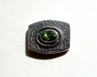 Sterling Silver and Peridot Artisan Designed Slide