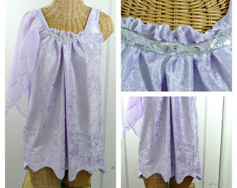 Lavender Butterfly Dress Size Small Fairy Dance Womens Costume Pixie Velvet Chiffon Sleeve Sequin Trim Ready to Wear