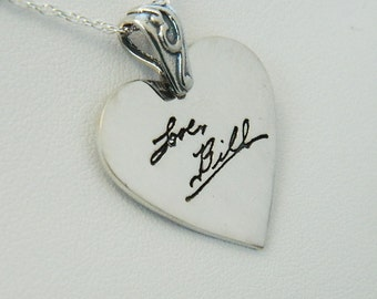 Signature Heart Pendant in Memory Handwriting Jewelry in Sterling Silver