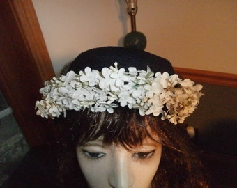 Womens  Hat- Black with Tiny White Flowers ~  Pill Box Hat with Netting Womens Vintage HAT