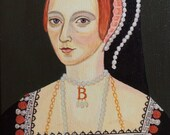 Anne Boleyn Renaissance Painting 16th Century Reproduction Old World Portrait Small Painting