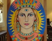 Original Painting Third Eye Suns Ray Ankh Spiritual Esoteric Art Portrait