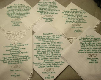 6 Wedding handkerchiefs - FREE SHIPPING - 1 with over 70 words - 3 40-70 words and 2 under 40 words