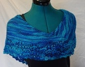Sea Glass Knit Scarf/Shawlette - Blue and Green