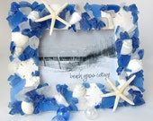 Beach Decor Seashell Frame, Sea Glass Picture Frame, Nautical Decor Beach Glass Shell Frame, Seaglass Picture Frame, Dk Blue 5x7 - #SGF57