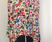 Plus Size Tank, Coco and Juan, Lagenlook, Plus Size Tunic, Multi Floral Petal Print Knit Angled Tank Top. Size 1 Fits 1X, 2X Bust 50 inches