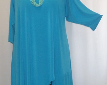 Coco and Juan Plus Size Tunic Lagenlook Asymmetric Tunic Top Turquoise Traveler Knit Size 2 (fits size 3X,4X)   Bust 60 inches