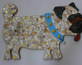 Mosaic Fawn Pug Leash Holder Item LH1228