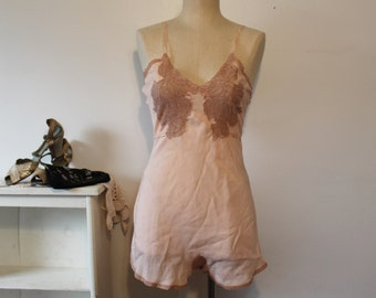 1920's 30's Vintage. Lingerie button crotch teddy romper playsuit negligee