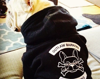 Embroidered Outlaw Barkers French Bulldog Biker Club Hoodie for Dogs