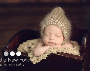 Neutral Photo Prop Newborn Baby Boy Hand Knit Girl Fall Hat Mohair Pixie Bonnet Organic Winter Coming Cap Going Home Outfit Ready to Ship