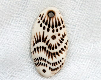 Faux Ivory Textured Dangle or Charm Bead with Abstract Pattern
