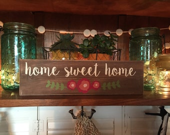 """Home Sweet Home -3.5""""x12""""- Wood Sign with flowers"""
