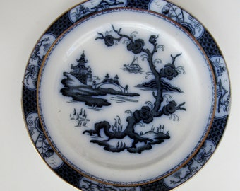 Vintage Flow Blue Plate Pagoda Till and Sons Decorative Oriental Asian Design England