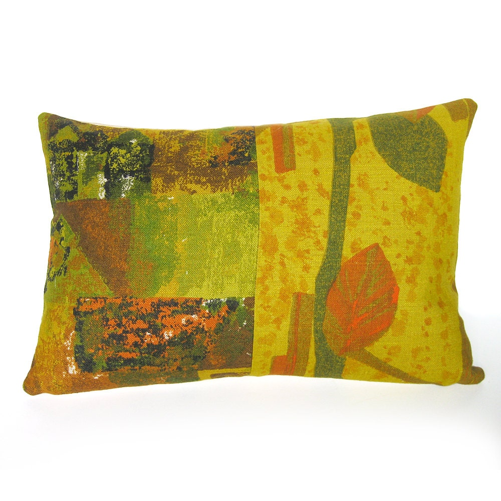 Throw Pillow Mid Century Modern Linen Pillow Cover 1950s
