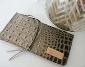 Crocodile Embossed Leather Zippered Pouch - Petite Clutch - Leather Pencil Case - Cosmetics Bag -Pouch - Small Leather Clutch