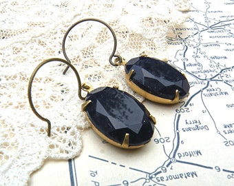 earrings opaque ink cobalt blue recycle jewelry jewel dangle glass faceted