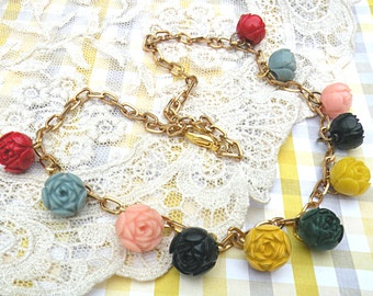 necklace cottage rose celluloid assemblage upcycle shabby chic cottage