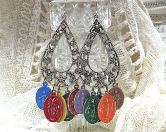 distressed assemblage earrings religious catholic medal charm dangle