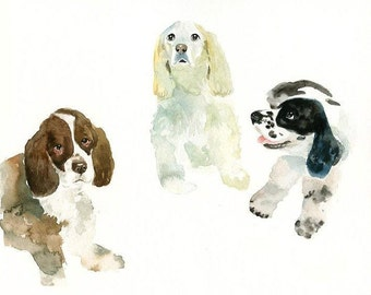 CUSTOM 3 PET PORTRAITS Original watercolor painting 11X14inch