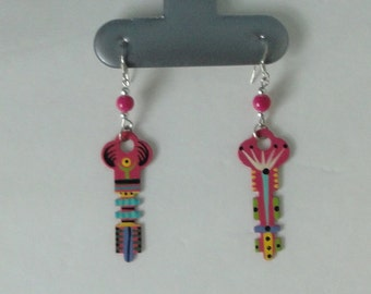 Hand Enameled Vintage Metal Keys Earrings.