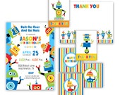Robot Birthday Invitation - digital files - Party kit 4 pcs